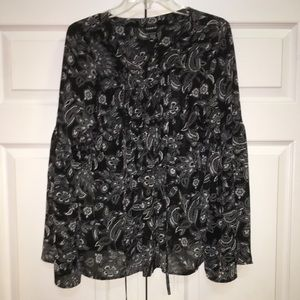 TORRID STYLISH BLOUSE WITH LACE UP & TIE AT NECK